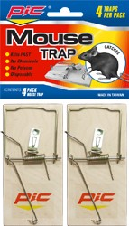 PIC WOODEN MOUSE TRAPS 4PK
