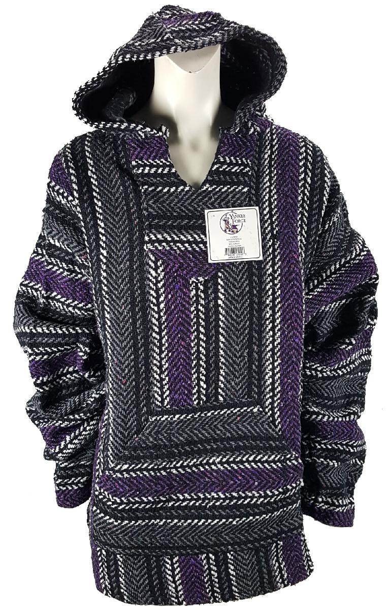 XX-Large Baja Shirt - BLACK & PURPLE STRIPE - Woven Hoodie - Soft Brushed Inside - Unisex Pullover