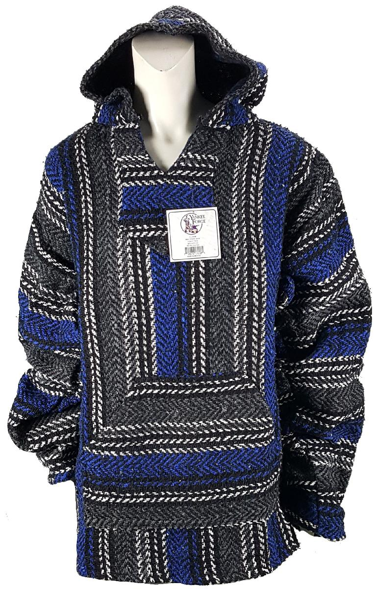 Large Baja Shirt - BLACK & DARK BLUE STRIPE - Woven Hoodie - Soft Brushed Inside - Unisex Pullover