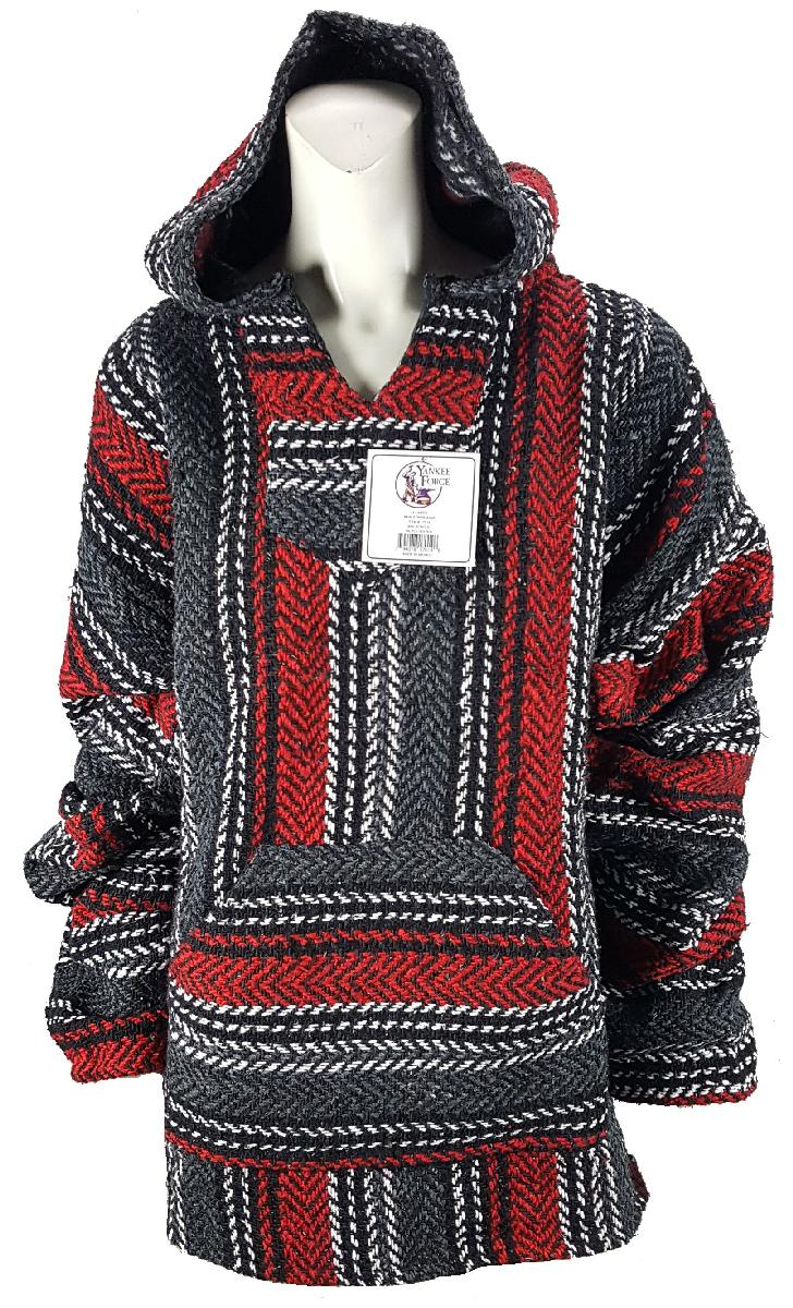 Large Baja Shirt - BLACK & DARK RED STRIPE - Woven Hoodie - Soft Brushed Inside - Unisex Pullover