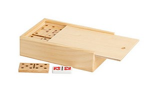 DOUBLE 6 WOODEN DOMINO W/CASE