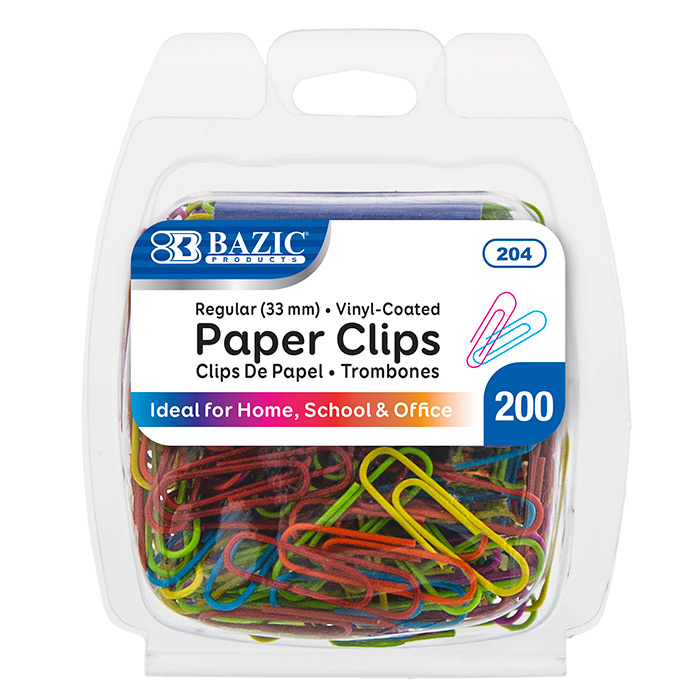 BAZIC 200CT PAPER CLIPS - COLORED