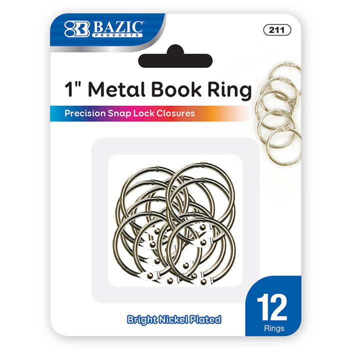 "BAZIC 12CT 1"" METAL BOOK RINGS"