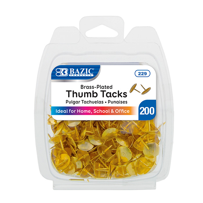 BAZIC 200CT THUMB TACKS - GOLD