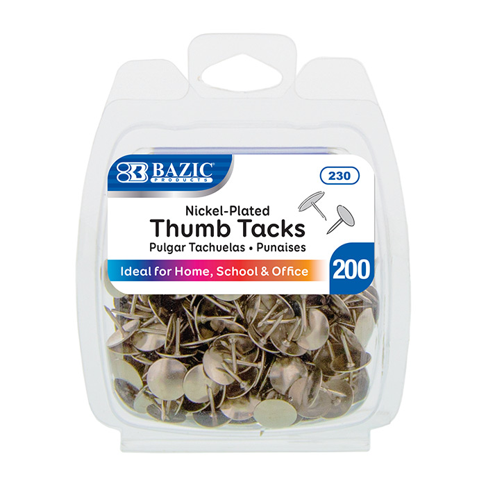 BAZIC 200CT THUMB TACKS - SILVER