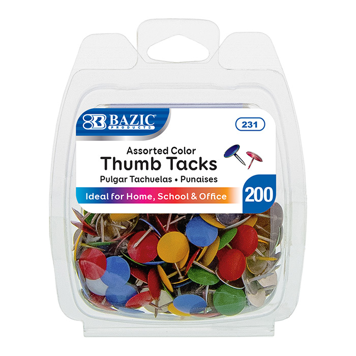 BAZIC 200CT THUMB TACKS - MULTICOLOR