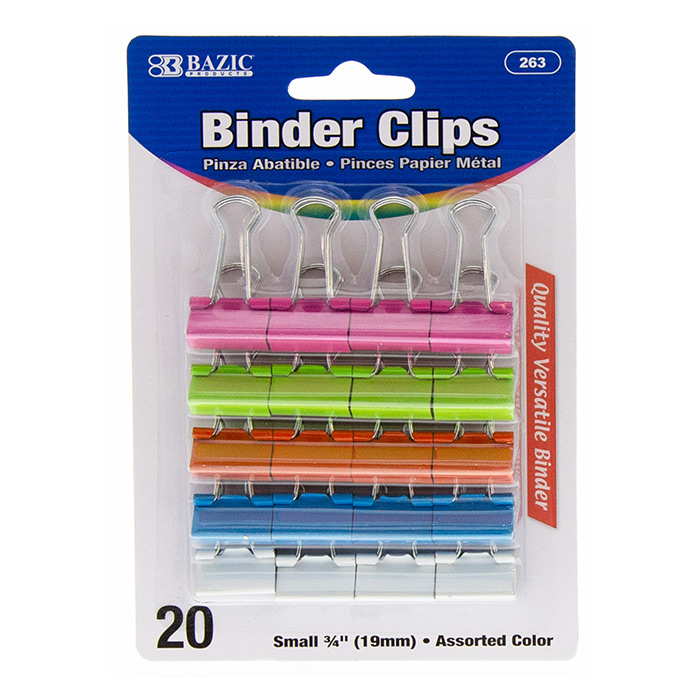 "BAZIC 20CT 3/4"" BINDER CLIPS - COLORED"
