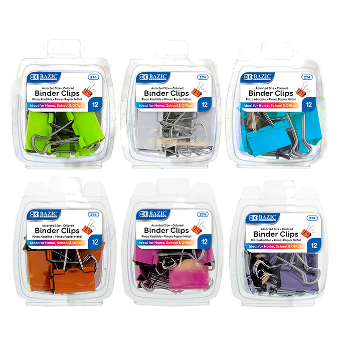 BAZIC 12CT ASST BINDER CLIPS - COLORED