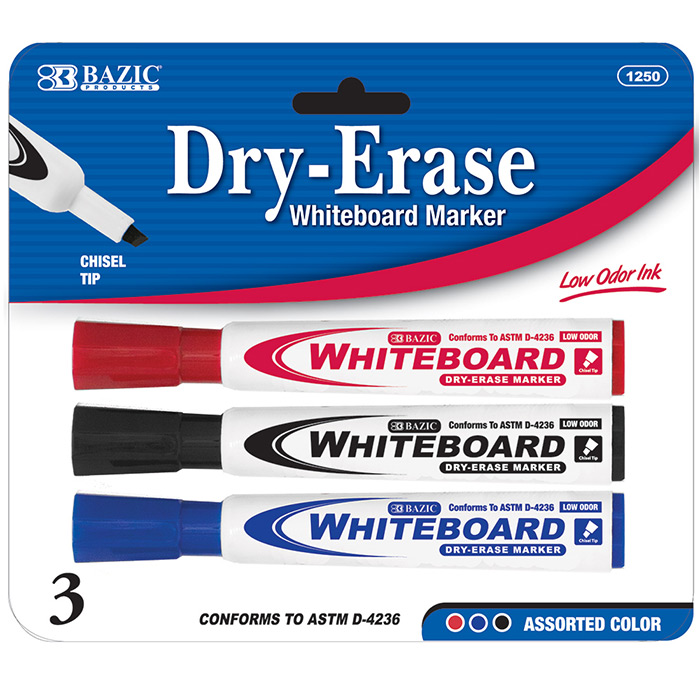 BAZIC 3PK DRY ERASE MARKERS