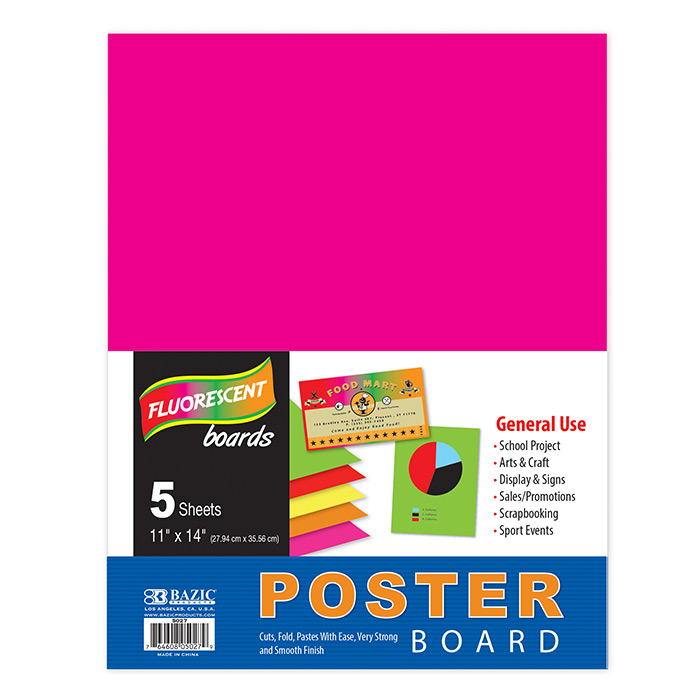 BAZIC 5CT 11X14 FLUORESCENT POSTER BOARDS