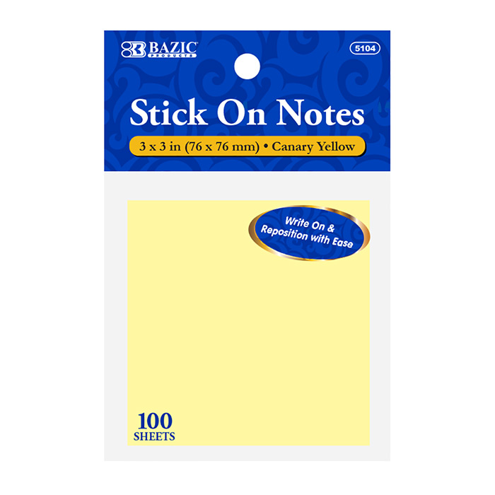BAZIC 100CT 3X3 YELLOW STICKY NOTES