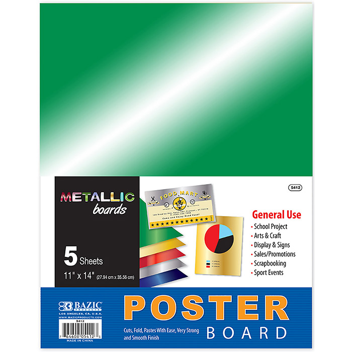 BAZIC 5PK 11X14 METALLIC POSTER BOARDS