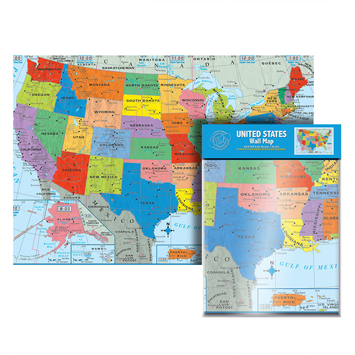 FOLDED USA WALL MAP