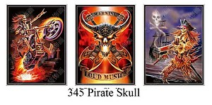 3D ART - TRIPLE PICTURE - PIRATE SKELETONS