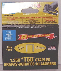 T50 STAPLES 1/2 INCH  1250/BX