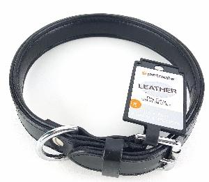 1 INCH X 18 INCH BLACK LEATHER DOG COLLAR