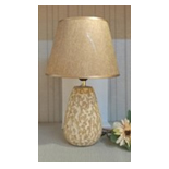 BEIGE WOODLK LAMP W/SHADE 16""