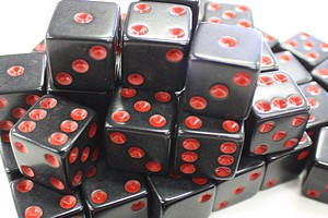 DICE - 16MM - BLACK/RED PIPS