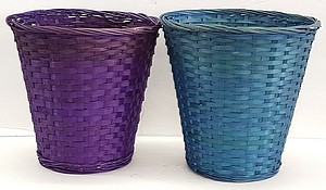 10 INCH X10 INCH  BAMBOO BASKET COLORS