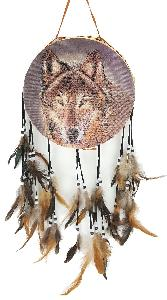 INDIAN DRUM - WOLF FACE