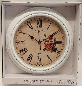 "12"" WHITE DECORATIVE WALL CLOCK"