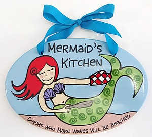 9 INCH  MERMAIDS KITCHEN PLAQUE