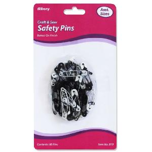 60 CT SAFETY PINS ASST BLACK & WHITE