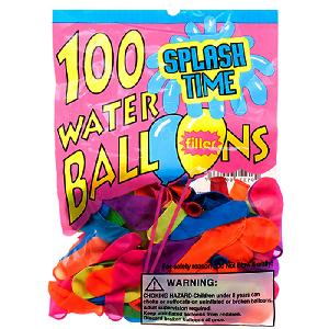 100PC ASSRT WATER BALLOON W/ FILLER IN PEGABLE PP BAG