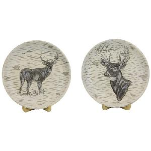 SET OF 2 DEER PLATES WITH STANDS