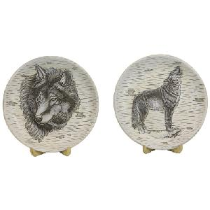 SET OF 2 WOLF PLATES WITH STANDS