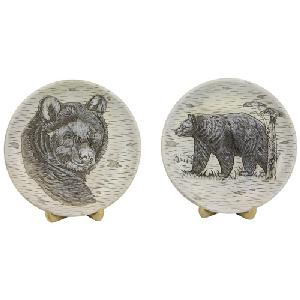 SET OF 2 BEAR PLATES WITH STANDS
