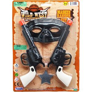 2PC 7 INCH CLICKING TOY COWBOY GUN SET W/ 5 INCH MASK ON CARD