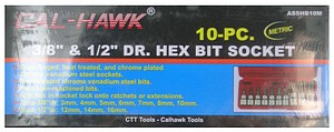 10PC 3/8 & 1/2 HEX MET BITS