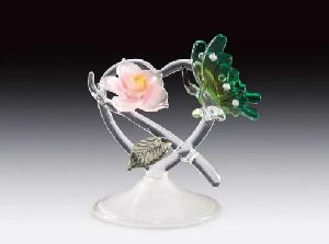 GLASS FIGURE-BUTTERFLY/FLOWER