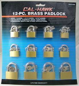 12PC BRASS LOCK ASSORTMENT