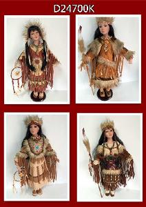 "DOLL 24"" INDIAN - SET OF 4 ASSORTED"