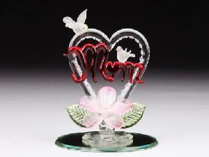 GLASS FIGURE-MOM/HEART/BIRDS