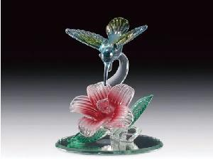 GLASS FIGURE-HUMMER/FLOWER