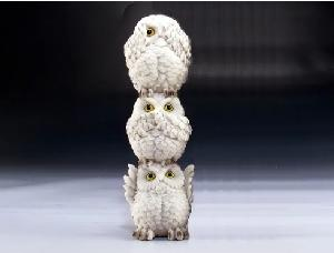 SEE, SPEAK AND HEAR NO EVIL SNOWY OWLS STACK