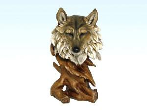 WOOD LIKE WOLF HEAD