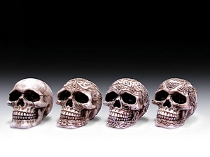 12 ASSORTED MINIATURES - DECORATED SKULLS