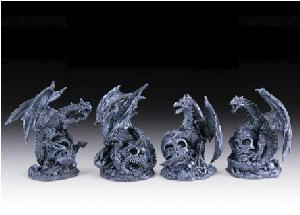 12 ASSORTED MINIATURES - GREY DRAGONS