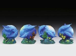 12 ASSORTED MINIATURES - DOLPHINS & SEASHELLS