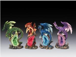12 ASSORTED MINIATURES - DRAGONS ON GEODES