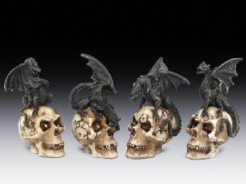 12 ASSORTED MINIATURES - BLACK DRAGON ON SKULL