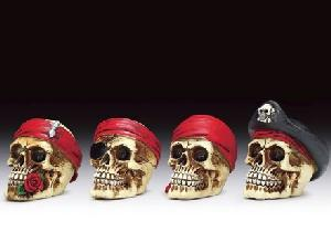 12 ASSORTED MINIATURES - PIRATE SKULLS