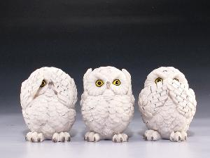 MINIATURES-12 ASST- SNOW OWL SEE NO EVI