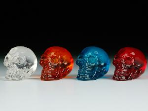 12 ASSORTED MINIATURES - TRANSPARENT SKULLS