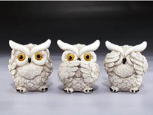 12 ASST. SEE, SPEAK AND HEAR NO EVIL WHITE OWLS.  12 PCS/BOX