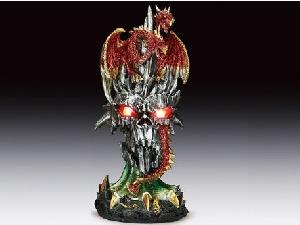 2 HEADED DRAGON LED STATUE